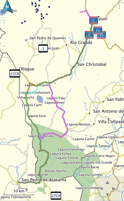 Lagunas Route Map A B C